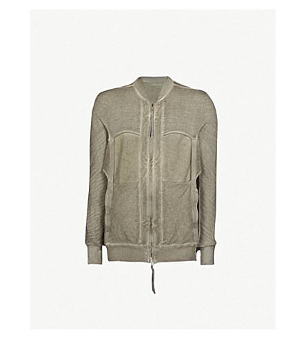 BORIS BIDJAN SABERI Panelled cotton-knitted bomber jacket (Ice+grey