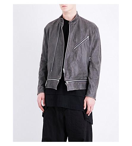 JULIUS Zip-detailed suede jacket (Ash