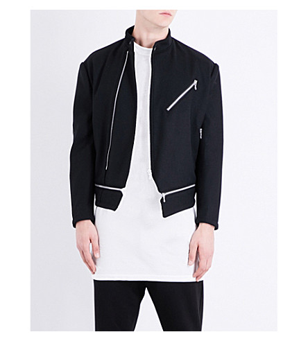 JULIUS Panelled wool-blend jacket (Black