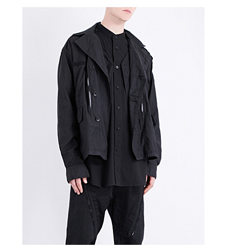 JULIUS Zip-detailed cotton jacket (Black