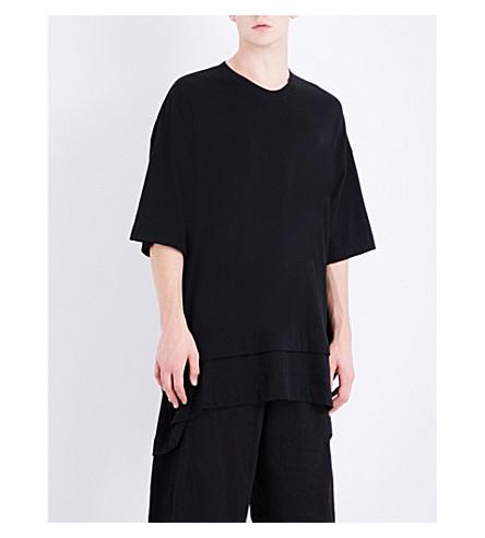JULIUS Oversized cotton and silk-blend T-shirt (Black