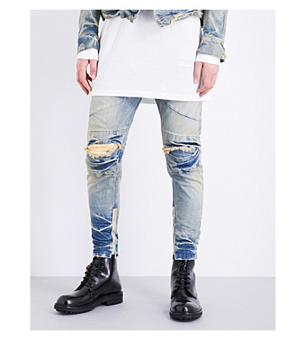 JULIUS Distressed-knee slim-fit skinny jeans (Indigo