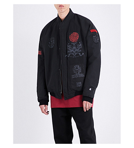 JULIUS Patch and print-detail shell jacket (Black