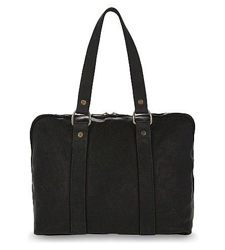 GUIDI Small horse leather holdall (Black