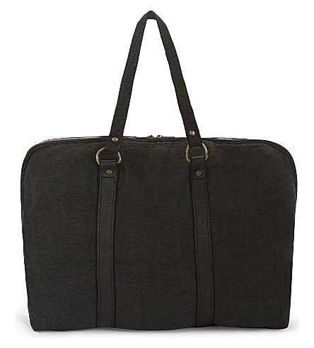 GUIDI Linen zipper-around duffel bag (Black