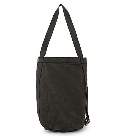 GUIDI Hybrid linen backpack tote (Black