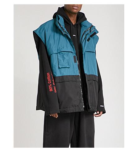 VETEMENTS Oversized padded gilet jacket (Black+green