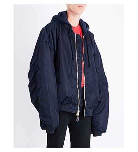 VETEMENTS Reversible hooded shell bomber jacket (Blue+orange