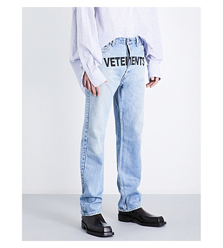 VETEMENTS Logo-print regular-fit straight jeans (Blue