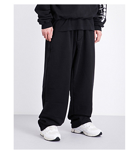 VETEMENTS Logo-embroidered jersey jogging bottoms (Black