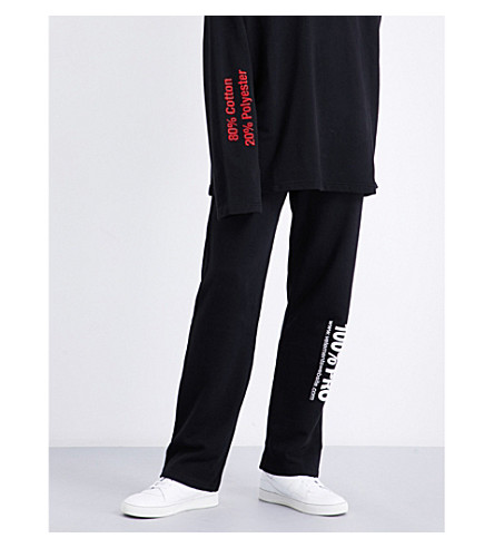 VETEMENTS 100% Pro mid-rise cotton-jersey jogging bottoms (Black