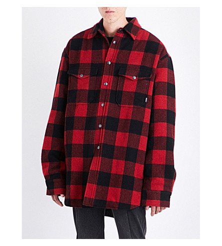 VETEMENTS Checked oversized flannel shirt (Red