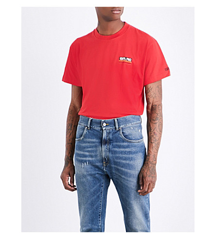 VETEMENTS 100% Pro cotton-jersey T-shirt (Red+print