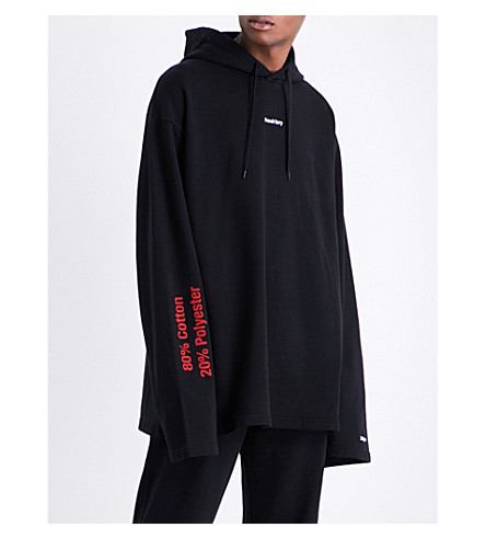 VETEMENTS French terry cotton-blend hoody (Black