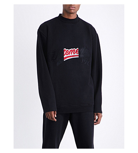 VETEMENTS Logo-embroidered cotton-blend sweatshirt (Black