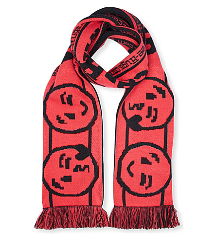 VETEMENTS Free Hugs knitted scarf (Black+red