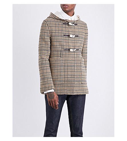 WALES BONNER Soul wool-blend duffle coat (Brown+houndstooth