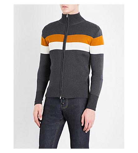 WALES BONNER Emory silk and cotton-blend sweatshirt (Grey+w+mustard