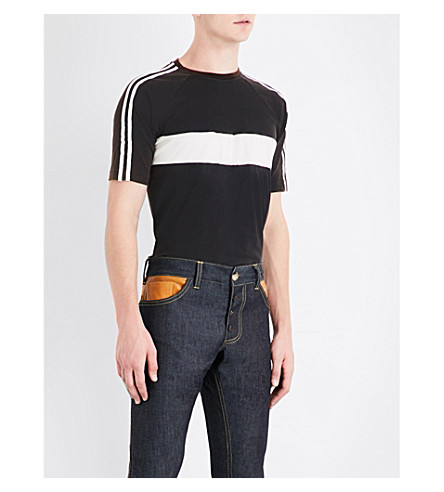 WALES BONNER George striped cotton-jersey T-shirt (Black+w+ivory