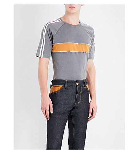 WALES BONNER George striped cotton-jersey T-shirt (Grey+w+mustard