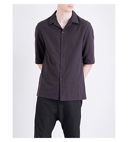 A DICIANNOVEVENTITRE 1923 cotton and linen-blend shirt (Blk