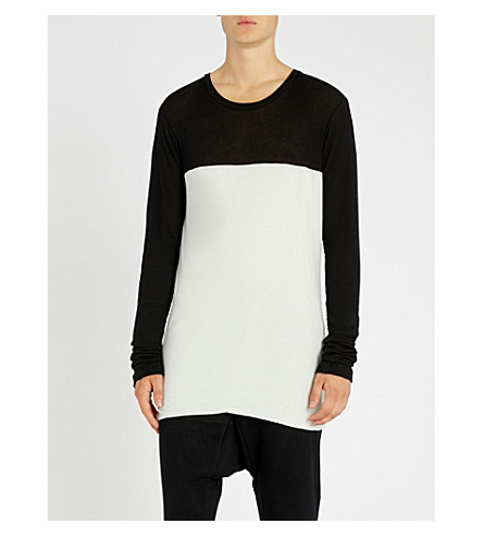 UNRAVEL Layered cotton and cashmere-blend top (Black+white