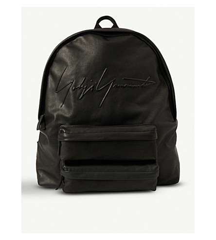 YOHJI YAMAMOTO Signature leather backpack (Black