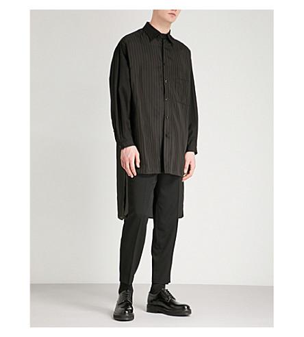 YOHJI YAMAMOTO Striped regular-fit cotton and satin shirt (Black