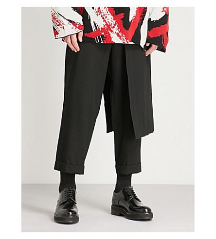 YOHJI YAMAMOTO Side-skirt overlay relaxed-fit wool trousers (Black