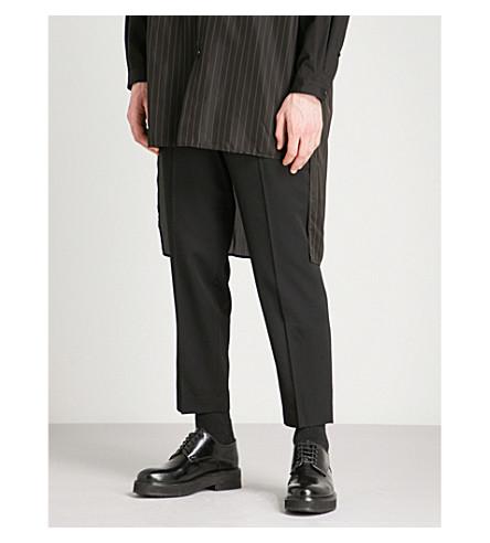 YOHJI YAMAMOTO Slim-fit cropped wool trousers (Black