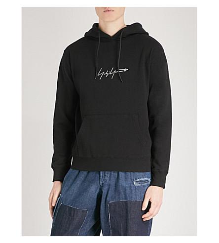 YOHJI YAMAMOTO Signature-print cotton-jersey hoody (Black