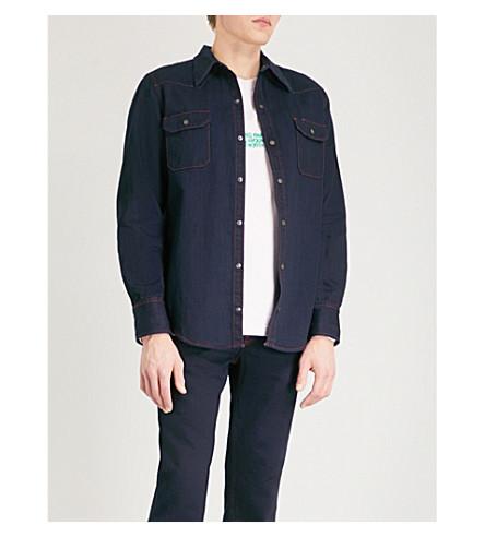 CALVIN KLEIN 205W39NYC Contrast-stitching regular-fit denim shirt (Indigo