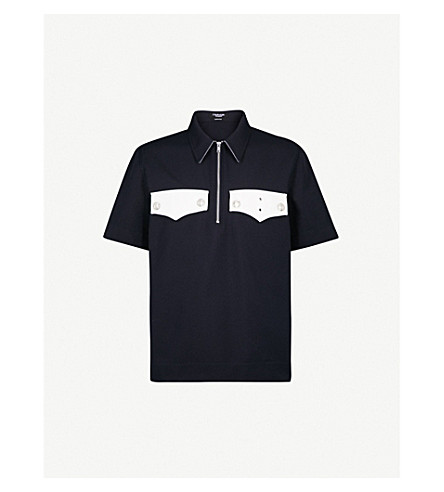 CALVIN KLEIN 205W39NYC Colour-blocked knitted polo shirt (Navy