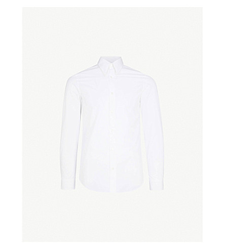 CALVIN KLEIN 205W39NYC Embroidered slim-fit cotton-poplin shirt (Optic+white