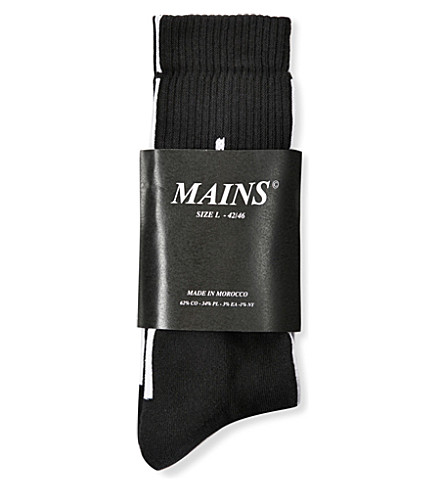 MAINS Logo-intarsia cotton-blend socks (Black
