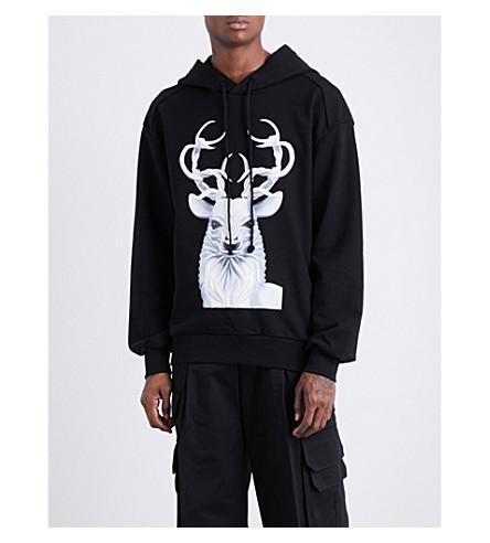 JUUN J Stag-print cotton-jersey hoody (Black