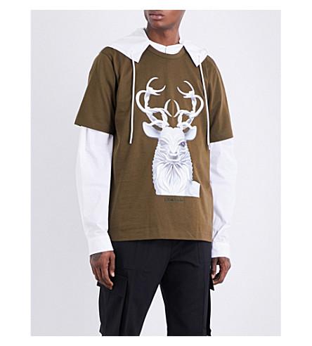 JUUN J Stag-print cotton-jersey T-shirt (Khaki