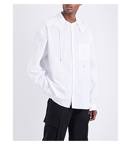JUUN J Hooded oversized cotton shirt (White