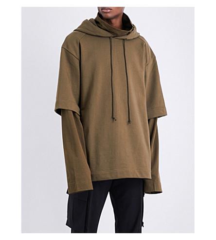 JUUN J Layered-sleeve cotton-jersey hoody (Khaki