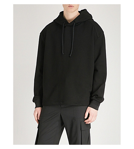 JUUN J Contrasting cotton-jersey and shell hoody (Black