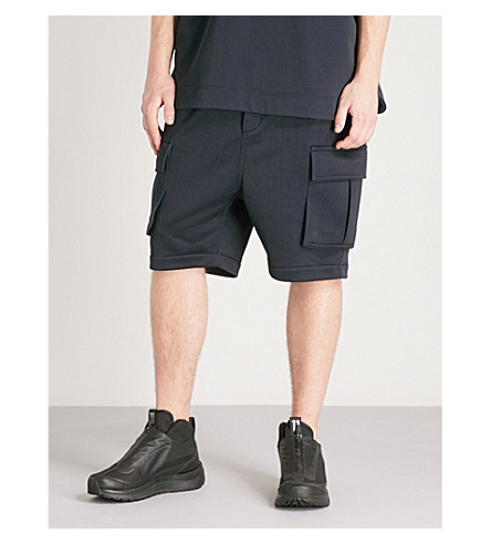 JUUN J Dropped-crotch cotton-jersey shorts (Navy