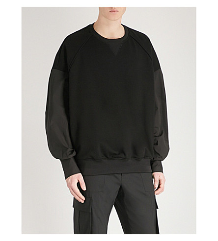 JUUN J Contrasting cotton-jersey and cotton-poplin sweatshirt (Black