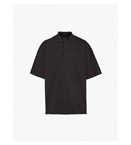 JUUN J Oversized woven polo shirt (Black