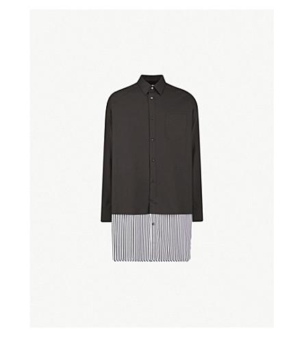JUUN J Striped oversized cotton-blend shirt (Black