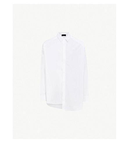JUUN J Striped underlay oversized cotton-poplin shirt (White