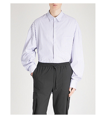 JUUN J Striped oversized cotton-poplin shirt (Blue