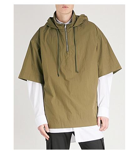 JUUN J Textured hooded cotton-blend top (Khaki