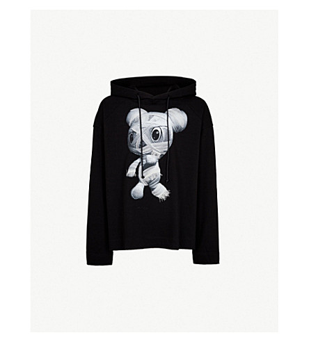 JUUN J Teddy-print cotton-jersey hoody (Black
