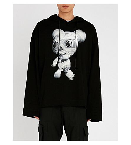 JUUN J Teddy-print cotton-jersey hoody (Black