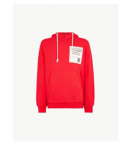 MAISON MARGIELA Logo-patch cotton-jersey hoody (Red